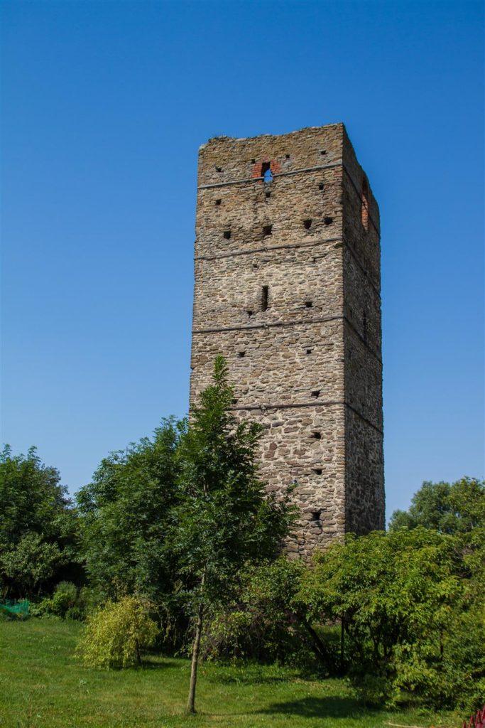 Ruiny średniowiecznej wieży obronnej w Stołpiu