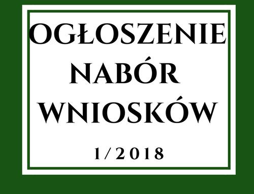 Ogłoszenie o naborze wniosków nr 1/2018 w zakresie podejmowania działalności gospodarczej
