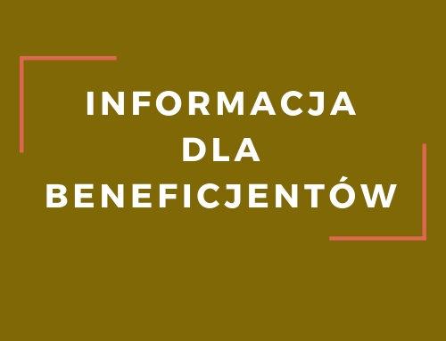 Informacja dla beneficjentów