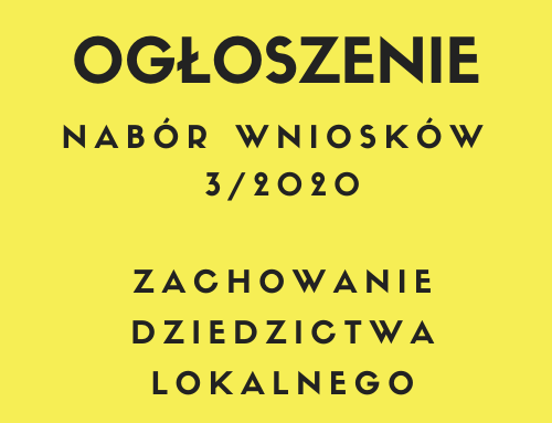 Ogłoszenie o naborze wniosków nr 3/2020 w zakresie dziedzictwa lokalnego